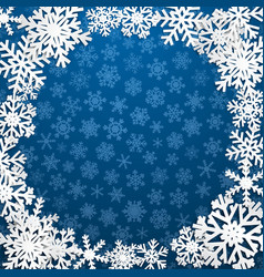 Background with frame of snowflakes vector