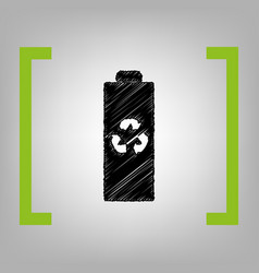 battery recycle sign black vector image