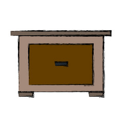 Bedside table wooden furniture room vector