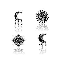 boho style accessories drop shadow black glyph vector image