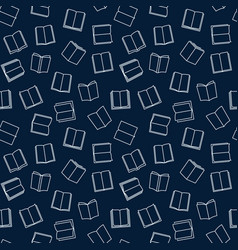 books seamless pattern in thin line style vector image