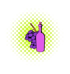Bottle of wine grape branch icon comics style vector image