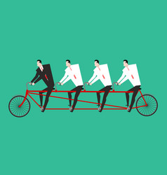 Businessman on tandem business team on bicycle vector