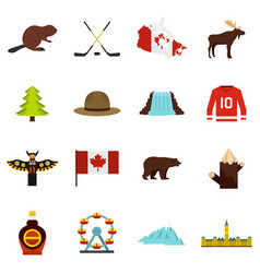 Canada travel icons set in flat style vector
