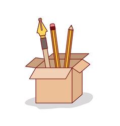 Carton box with set nib and pen on white vector