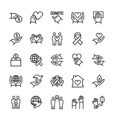 Charity sponsorshipdonation and donor icon set vector