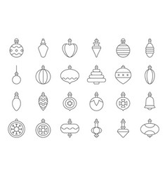 christmas ball ornaments icon set 2 outline vector image