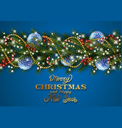 christmas decoration with pine tree branches vector image