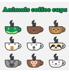 coffee animals cup set vector image