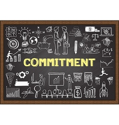 Commitment on chalkboard vector image