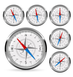 compass set of round gauge with chrome frame vector image