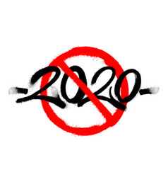 Cross out sprayed 2020 tag graffiti with overspray vector