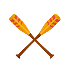 Crossed striped oars icon flat style vector