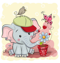 Cute cartoon elephant with flower vector