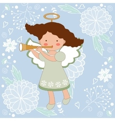 Cute Christmas card with happy angel vector image
