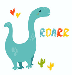 Cute diplodocus dino roarr greeting card vector