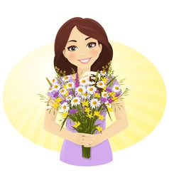 Cute girl with bunch wild flowers vector