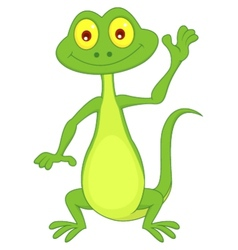Cute green lizard cartoon waving hand vector image