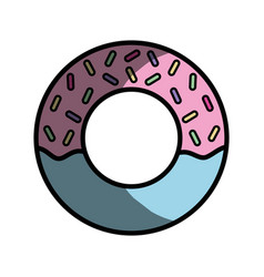 Delicious and sweet donut desert vector