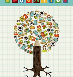Education icons pencil tree vector image