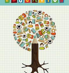 Education icons pencil tree vector image vector image