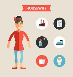 Flat Design of Housewife with Icon Set Infographic vector