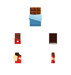 flat icon cacao set of sweet shaped box vector image