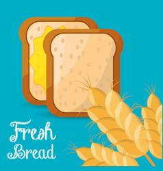 Fresh bread slice wheat ingient vector