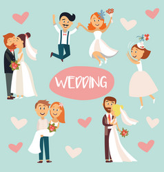 Funny cartoon wedding couple bride and groom vector