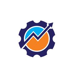 gear arrow progress business logo vector image
