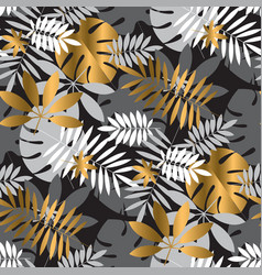 gold and black vibrant tropical leaves pattern vector image