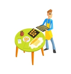 Guy Baking Cookies vector