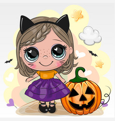 Halloween card with girl in cosume black cat on a vector