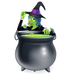 Halloween witch and cauldron vector