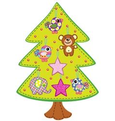 handmade christmas tree vector image vector image