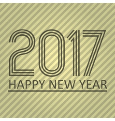 Happy new year 2017 on brown striped lines vector