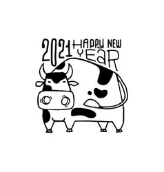 happy new year poster year ox 2021 vector image
