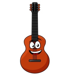 Happy wooden acoustic guitar vector image vector image