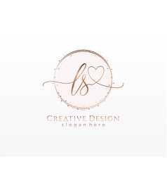 Initial ls handwriting logo with circle template vector