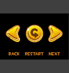 Isolated golden buttons back next return vector