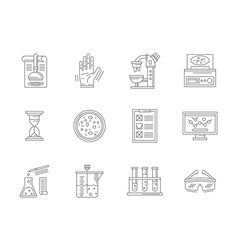 Laboratory expertise flat line icons set vector
