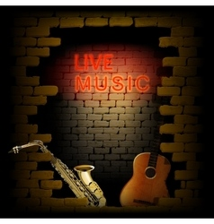 live music neon light of brick wall saxophone and vector image