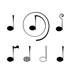 Logo note music set vector