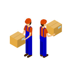 Male with cardboard parcel production line worker vector