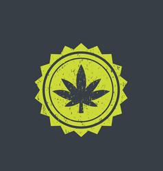 Marijuana cannabis badge vector