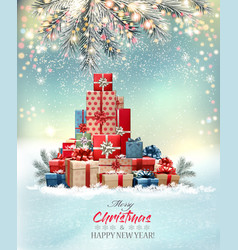 merry christmas and happy new year holiday light vector image