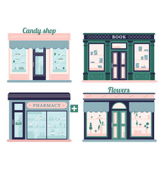 modern stores set candy shop facade and urban vector image