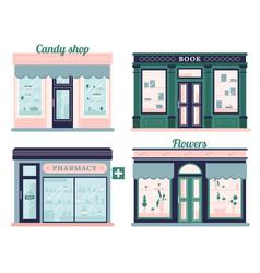 Modern stores set candy shop facade and urban vector