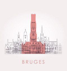 outline bruges skyline with landmarks vector image