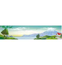 Panoramic landscape - cottage sea vector